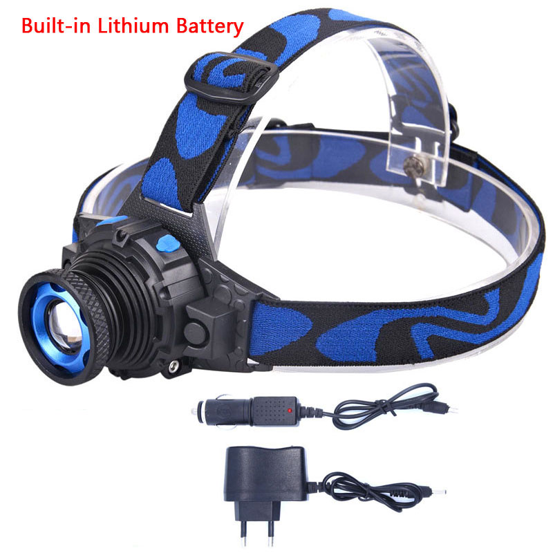 LED Headlamp Cree Q5 Waterproof High Brightness Built-in Lithium Battery Rechargeable Headlight Charger 3 Modes Zoomable
