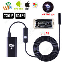 Blueskysea 6LED HD 720P 3.5M WiFi Endoscope Waterproof Inspection Camera for ios and Android PC