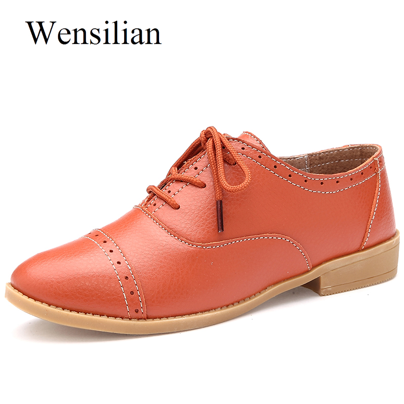 Summer Women Flats Shoes Oxford Leather Shoes Women Brogue Soft Slip On Loafers Casual Shoes Pointed Toe Flats Zapatos Mujer xiaying smile flats shoes women boat shoes spring summer office casual loafers slip on pointed toe shallow rubber women shoes