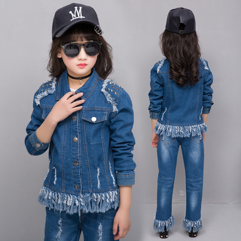 2017 New Girls Cowboy Suit Jeans for Girl  Tassel Costume Denim Jacket Teenage Girls Clothes Winter Children Kids Baby Clothing