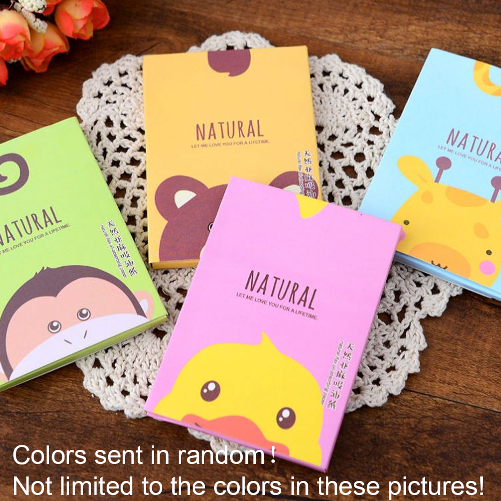 50Pcs/Bag Cartoon Facial Tissue Papers Blue Film Oil Absorbing Control Face Blotting Cleaning Papers