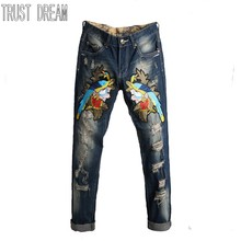 TRUST DREAM Men Fashion Magpie Embroidered Ripped Hole Jeans Casual Distressed Patch Slim Straight Denim Man Pants Long Trousers
