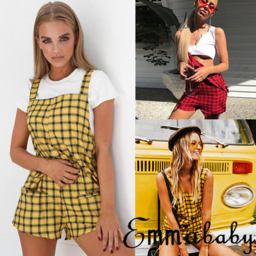 Sweet style New Women Ladies plaid Shorts Playsuit Bodycon overall Jumpsuit Trousers