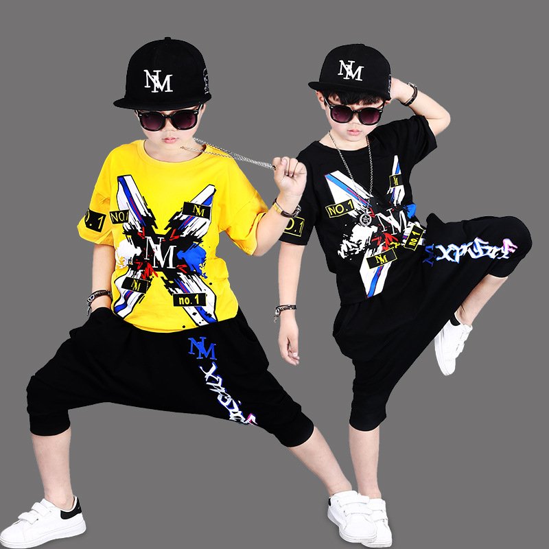 2018 New Baby Clothes Sets Summer Children Clothing Kids Black Hip Hop Dance Costumes Short Toddler Boy Clothes Suit Harem Pants children clothing set kids tracksuit sports suit boy girls fashion camouflage hoodies harem pants kids hip hop clothes