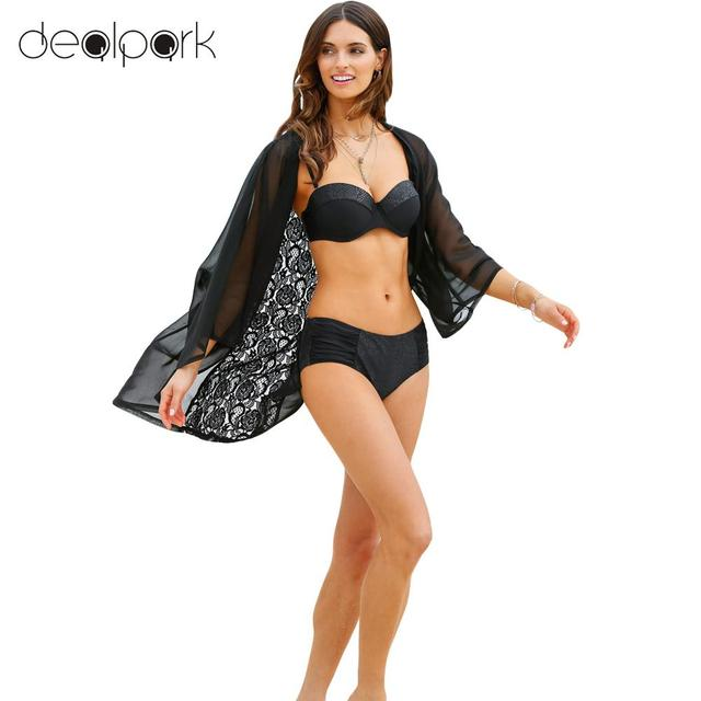 238f8872f691b Chemise Femme Women Lace Kimono Cardigan Beach Cover Up Sheer Lace Chiffon  Pareo Loose Casual Blouse Top Black