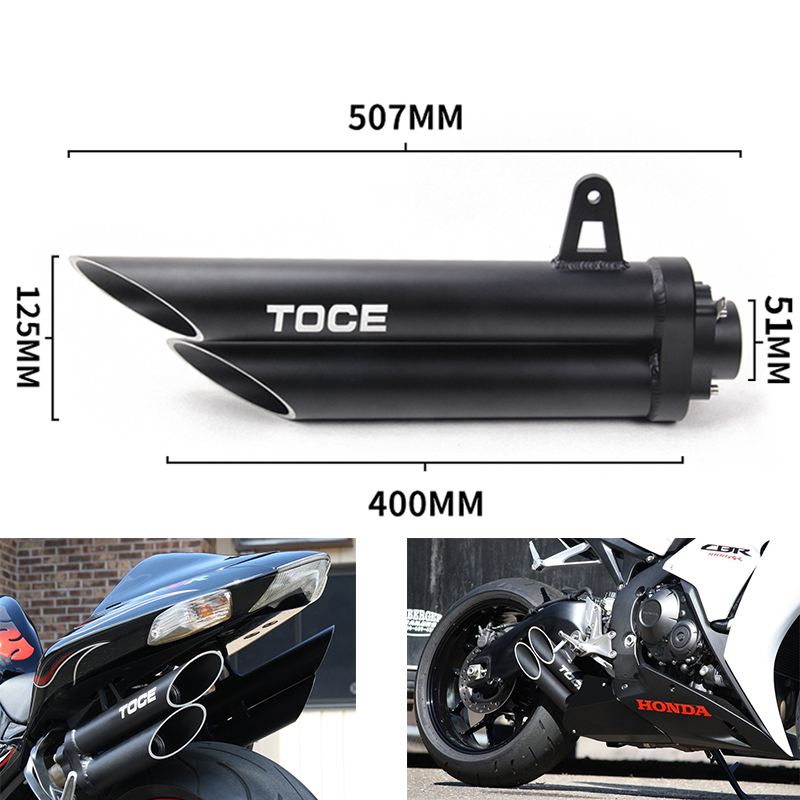 36-51mm High quality Universal Motorcycle Double Exhaust Muffler Pipe for toce exhaust z800 gsxr750 zx10r R1 R6 z900 cbr1000rr 36 51mm universal motorcycle double exhaust muffler pipe for z800 gsxr750 zx10r ninja650 two holes muffler cbr1000rr cbr650