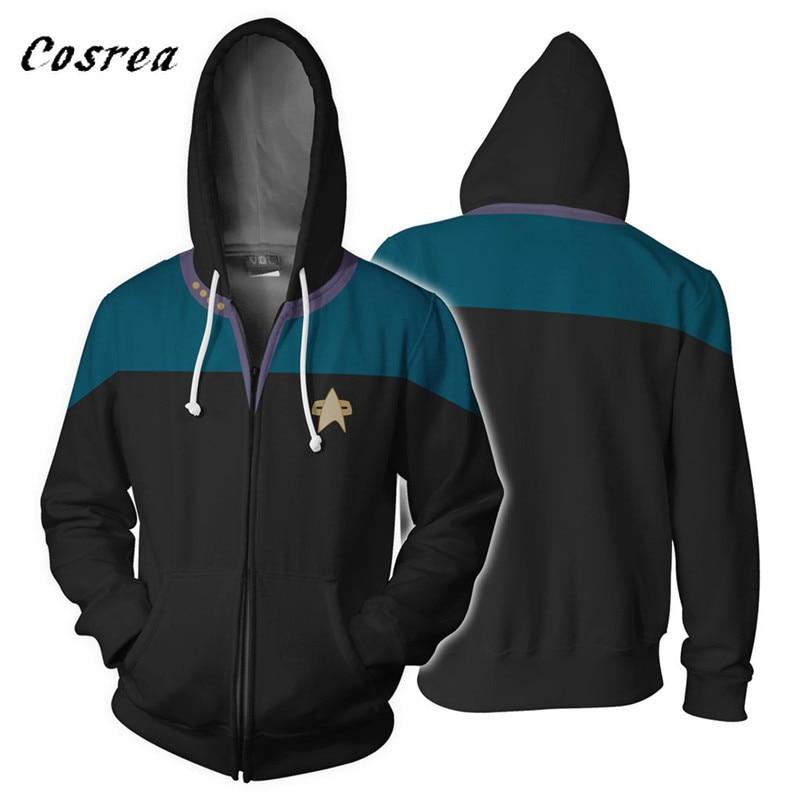 Cosrea Cosplay Costumes Star Trek Hoodied 3D Print Hoodie Hoody Man Sweatwear Casual Coat Sweatshirts with Zipper Plus Size 5XL