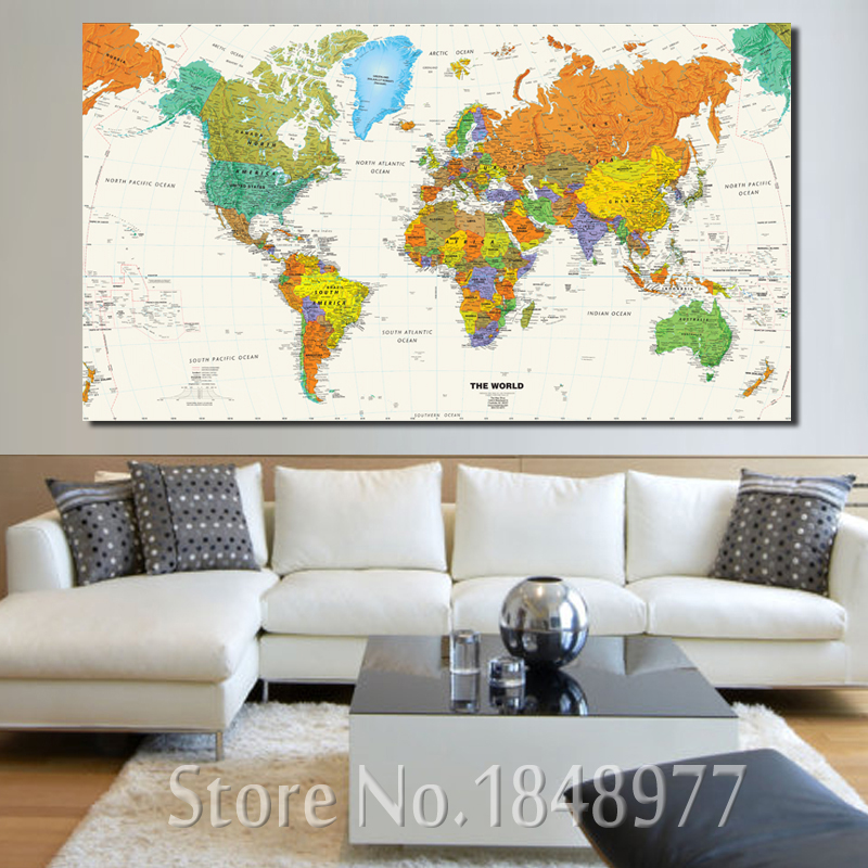 large modern enlish world map oil painting canvas pictures decorative painting wall art no frame for