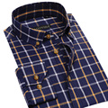 Новый плед сорочки для мужчин 2016 осень марка мода с длинным рукавом 100% хлопок площади v-воротник кнопка не железа slim-подходят мужчины свободного покроя рубашка