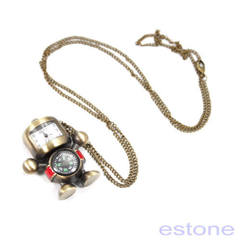 Hot Vintage Bronze Tone Robot Compass Pocket Chain Quartz Pendant Watch Necklace Pocket & Fob Watches