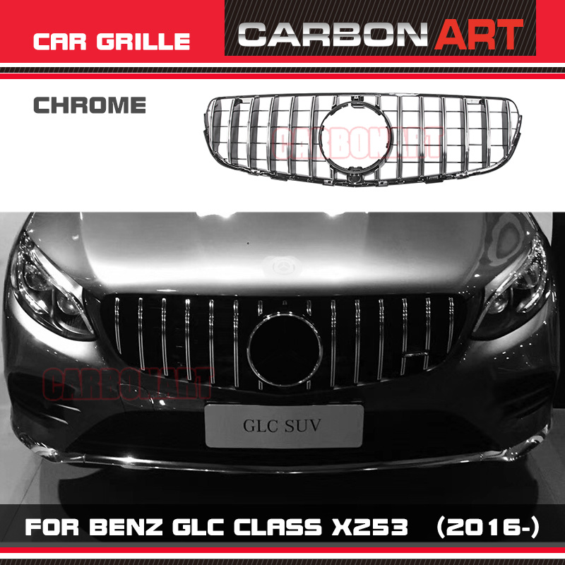 W253 AMG-style Front Racing Mesh Grill Grille For Mercedes-Benz W253 X253 GLC200 GLC250 GLC300 GlC450 Sport Version Silver 2017+ pp class front car mesh grill sport style fit for benz w203 c 2000 2006