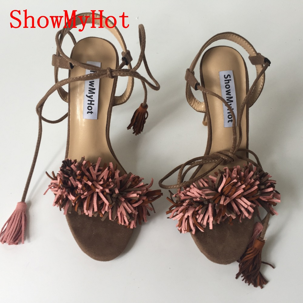 78dc14d8cee78 ShowMyHot Women fashion tassel Shoes Gladiator High Heel Sandals Brand  Tassels Sandlias Blue Red Sexy Ladies Shoes size 35 40 -in High Heels from  Shoes on ...