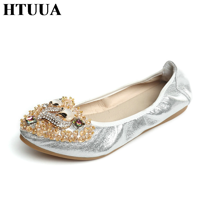 HTUUA Women Crystal Ballet Flats Size 35-41 Spring Fall Black Silver Gold  Bling Cloth Soft bottom Slip-On Flat Shoes Woman SX452 - Silver Flat Shoes Women Promotion-Shop For Promotional Silver Flat