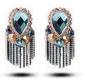 Tianshe de luxo handmade bohemia exagerada brincos SWA elemento cristal longa borla brincos para mulheres, 017
