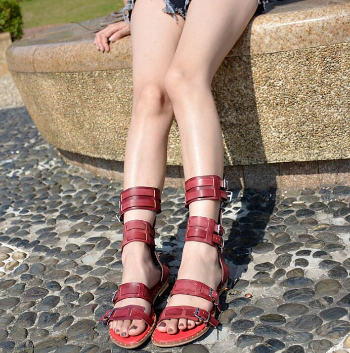 Summer New Fashion Brick Red Leather Straps Women Open Toe Sandals Cut Out Style Ladies Flat Sandals Gladiator Sandals women beaded bohemian sandals 2017 new summer fashion ladies wedge sandals gladiator style free shipping