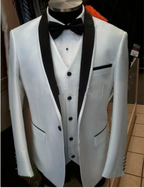 Custom Design Side Slit One Button Black Satin Lapela Do Noivo Smoking Groomsman Melhor homem Suits (Jacket + Pants + colete + Gravata)