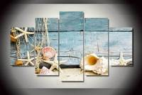 5 Panels Wall Art Seashells Starfishes Beach Painting Canvas Room Decor Print Poster Unframed