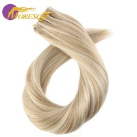 Moresoo Remy Highlight Two Tone Colored Tape In Hair Extensions Skin Weft Glue On Hair Extensions 20Pcs/50g