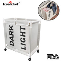 ICESTCHEF Waterproof Laundry Basket With Wheels Laundry Hamper With Cover Dirty Cloth Basket Lid Bathroom Storage 2 Grid