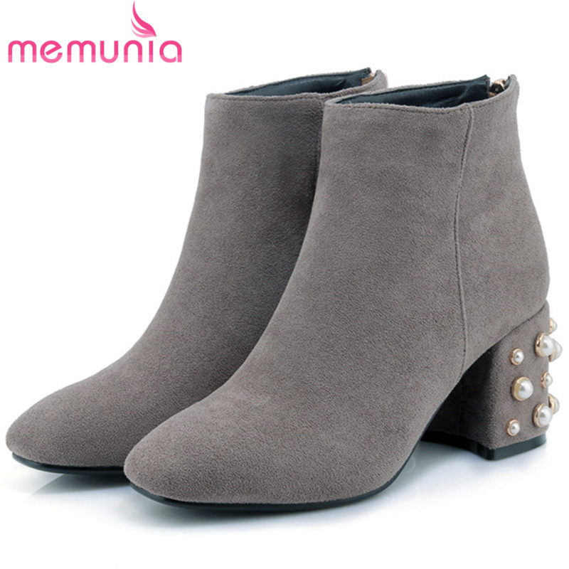 MEMUNIA Big size 34-42 high heels boots in spring autumn fashion boots woman shoes flock zip solid ankle boots for women party memunia 2017 fashion flock spring autumn single shoes women flats shoes solid pointed toe college style big size 34 47