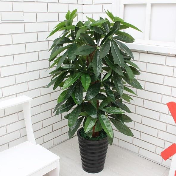Ev ve Bahçe'ten Yapay Bitkiler'de 90 CM Yapay Ağaç Gerçek Dokunmatik Plastik Zengin Para Sahte Ağaç olmadan Pot ev bahçe dekorasyonu Büyük Yapay Bitkiler'da  Grup 1