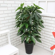 90CM Artificial Tree Real Touch Plastic Rich Money Fake Tree without Pot for Home Garden Decoration Large Artificial Plants