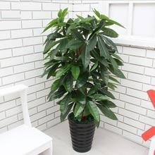 SZVVI 90 см искусственные Поддельные большой денежное дерево, реальный сенсорный наклеенного шелк богатых дерево без горшок, для хранения Hotel Рынок украшения