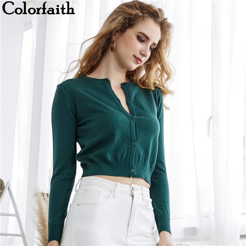 2019 Colorfaith Autumn Winter Women Knitted Sweater Cardigans Single Breated Short Ladies Crop Tops SW7169
