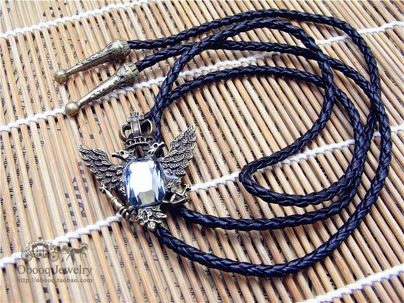 Bolo Tie Retro Shirt Chain Double Headed Eagle Bolo Ties Led Rope Leather Necklace Long Tie Hang