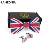Lanzonia Men's Fashion Wedding Union Jack Flag Print Bowtie and Cufflinks Bow Tie Set