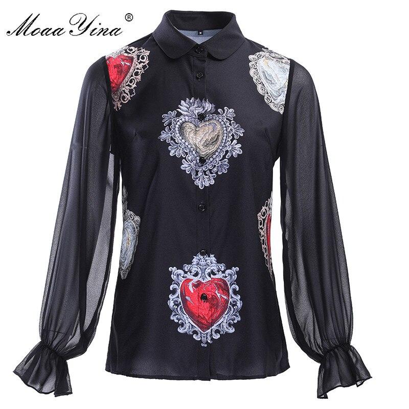 MoaaYina Plus Size 3XL Designern Shirt Tops Summer Women Lantern Sleeve Heart-shaped Print Casual Elegant Black Blouse