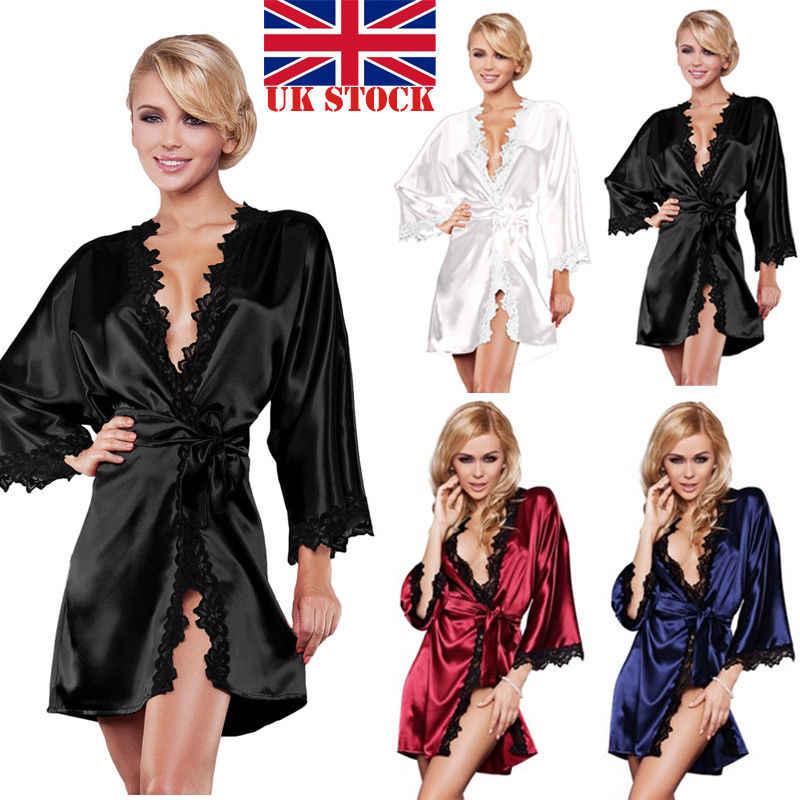 セクシーな女性の夜のガウンプロモーションロング女性花嫁ファッション女性のソリッドカラーのレース着物ローブサテンシルク夜のガウン