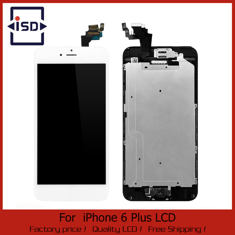 5 pcs/lot Black For iphone 6 Plus 5.5 LCD Touch Screen digitizer + Home button + Front camera Assembly Free Shipping