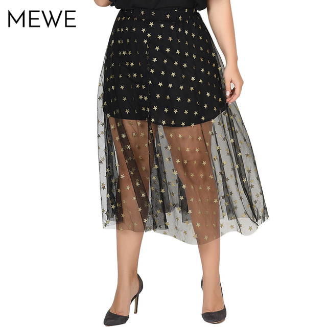d441e70d23 Women Midi Skirts Summer 2018 Gothic Black Sexy Mesh Skirts Plus Size  Sequined Stars Printed Transparent Tulle Skirt 5XL 6XL 7XL