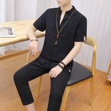 Loldeal Short-sleeved Shirt + Nine Pants Men's Suit V-neck Casual Shorts Summer Button Chinese Linen Harajuku Set