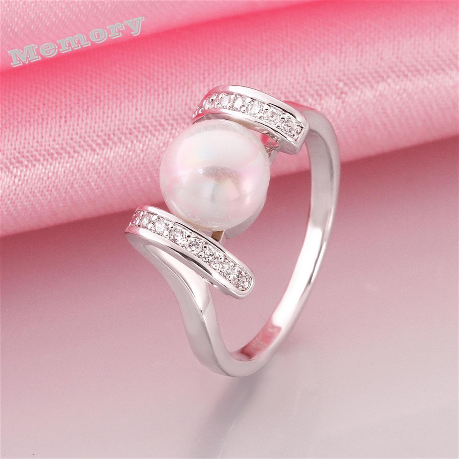 Cubic zirconia white gold Imitation diamond real big pearl ...