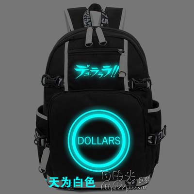 Hot Anime DuRaRaRa!! Backpack Cosplay Fashion Canvas Bag Luminous Schoolbag Travel Bags anime tokyo ghoul dark in light luminous satchel backpack schoolbag shoulder bag boys gilrs cosplay gifts