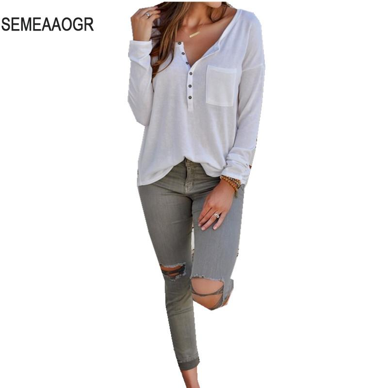 2017 Autumn Women Sweater Casual V neck Button Thin Pullover ...