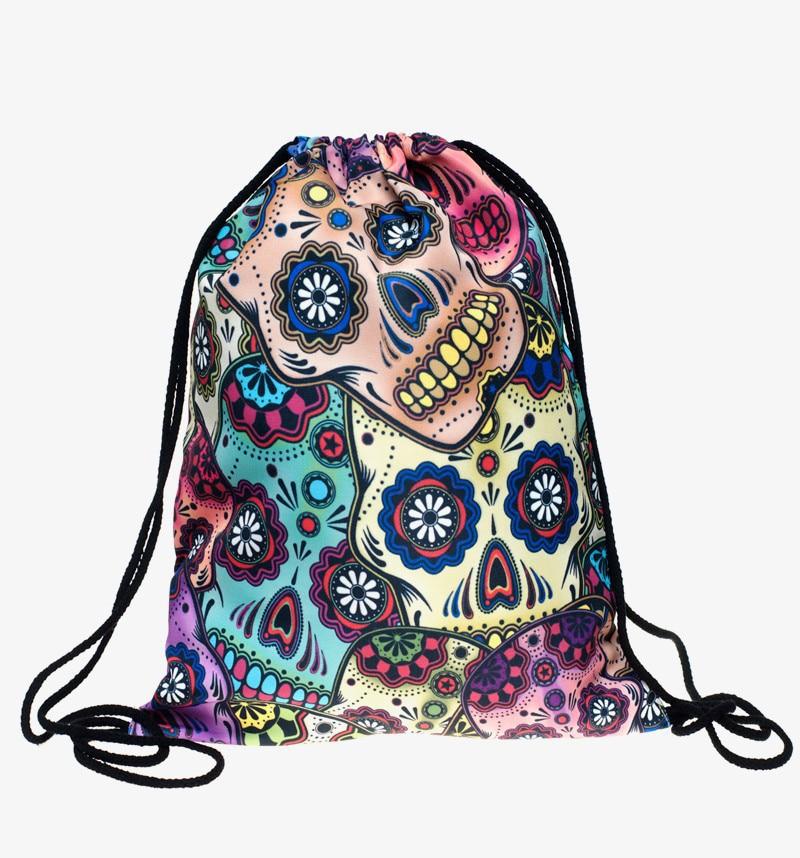 Mexican Skull 3d Print Drawstring font b Bags b font Backpack Mochilas Who Cares Brand Women