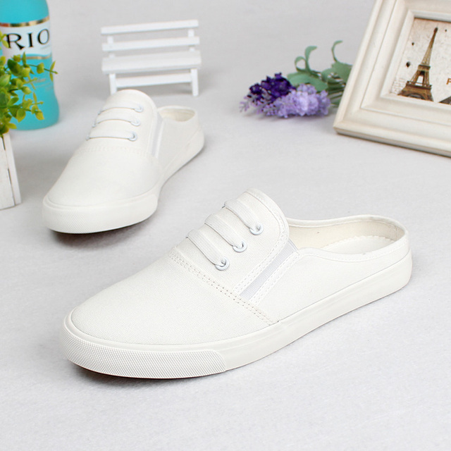 b14724ffe21 White Shoes Summer White Canvas Shoes Casual Shoes Slippers Girls Half  Dragged Shoes womens flats