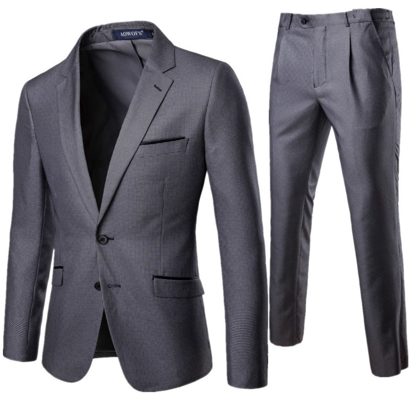 Men's Business Suit Two-Piece Suit (Blazer + Pants) Gray High-Quality Slim Banquet Gentleman Men's Formal Suit S-5XL