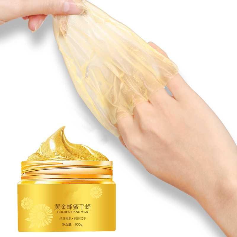 100g Oro Collagene Essenza Sbiancamento Idratante Mano Maschera Idratante Guanti Anti Rughe Levigante Mano Maschera di Cera di Cura Della Mano