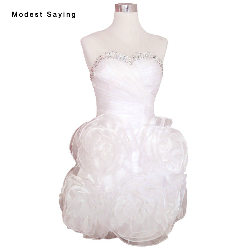 Sexy White Ball Gown Rosette Flowers Beaded Party Cocktail Dresses 2017 Mini Prom Girl's Graduation Gowns Robe De Cocktail YC46