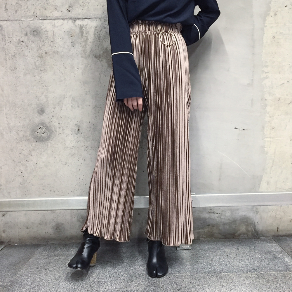 2019 Ring Decorative Velvet Pleated Fold Loose   Wide     Leg     Pants   Women Ankle-length Long   Pants   Free Shipping
