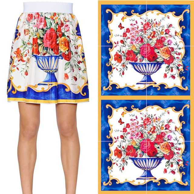 Autumn new big flower with the same type of parent-child wear retro vase digital printing women's fabric factory wholesale