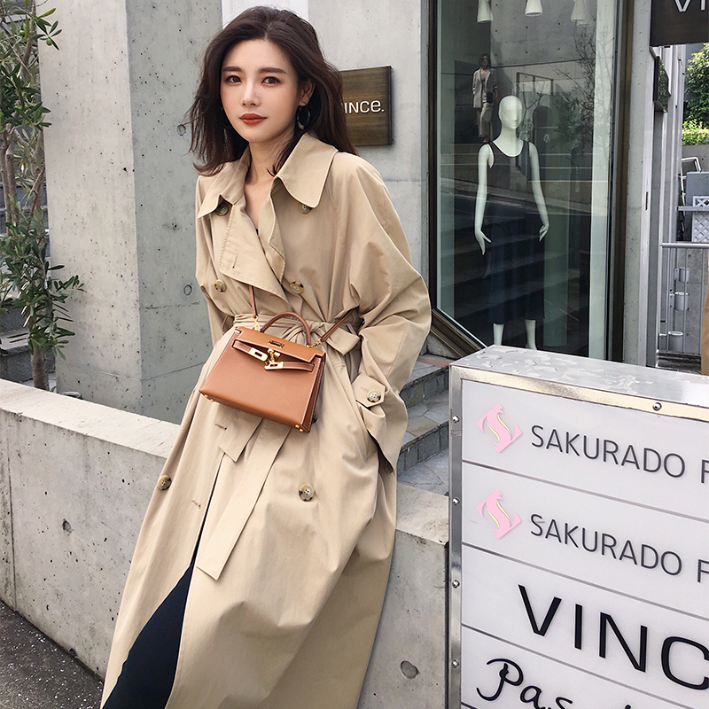 Casual   trench   coat oversize Double Breasted Vintage Washed Outwear long Loose Clothing women 2018 fall winter new high quality