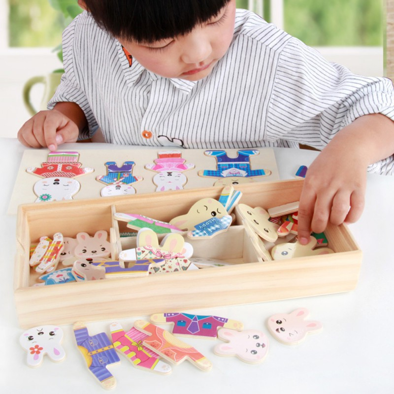 Home Frugal Baby Wooden Toys Set Educational Toys Animal Rabbit Changing Clothes Kids Children Toy Gift Intellectual Toy High Quality And Inexpensive