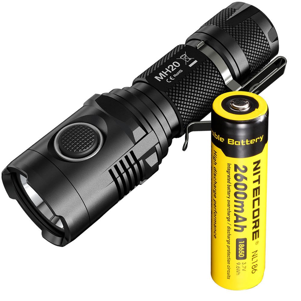 NITECORE MH20 with 2600mAh Battery 1000 Lumens CREE XM-L2 U2 LED Rechargeable MINI Flashlight Waterproof Led Torch+Free Shipping nitecore mt10c portable tactical flashlight cree xm l2 u2 led 920 lumens red light illumination waterproof with imr18350 battery
