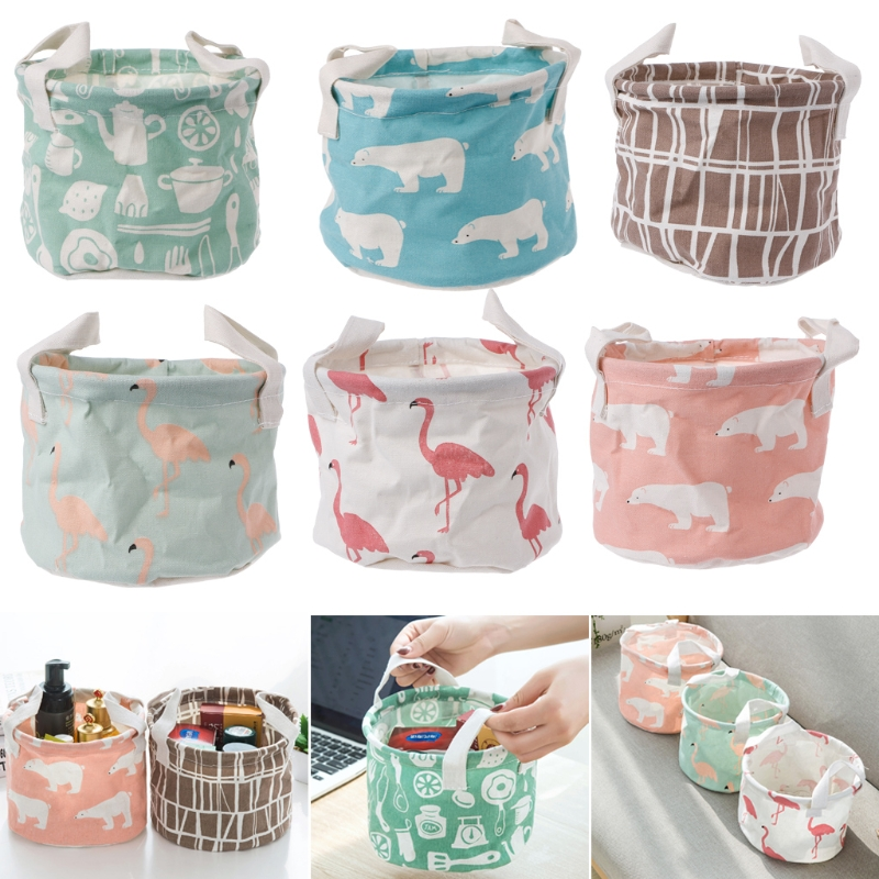 Portable Cotton Linen Basket Home Office Desk Organizer Round Cute Storage Box M15