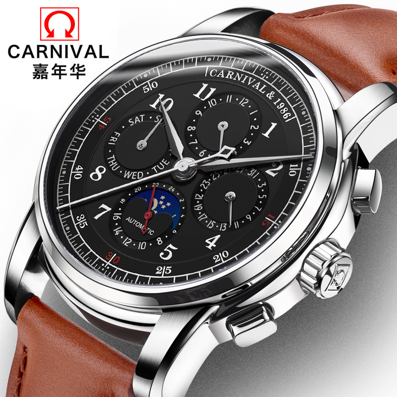 Mechanical Watch Men Water Resistant Vintage Leather Strap Moon Phase Date Week Month Top Zegarki Meskie